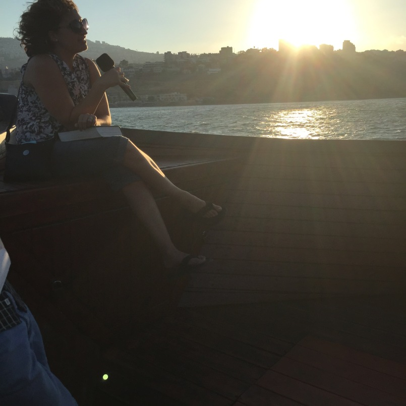 AnnaMaria leading a devotional on the boat!
